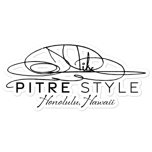 Official Black Signature Pitre Style Logo Bubble-free Sticker by John Pitre.  This official Pitre Style sticker is printed on durable, high opacity adhesive vinyl which makes it perfect for regular use, as well as for covering other stickers or paint. The high-quality vinyl ensures there are no bubbles when applying the stickers.