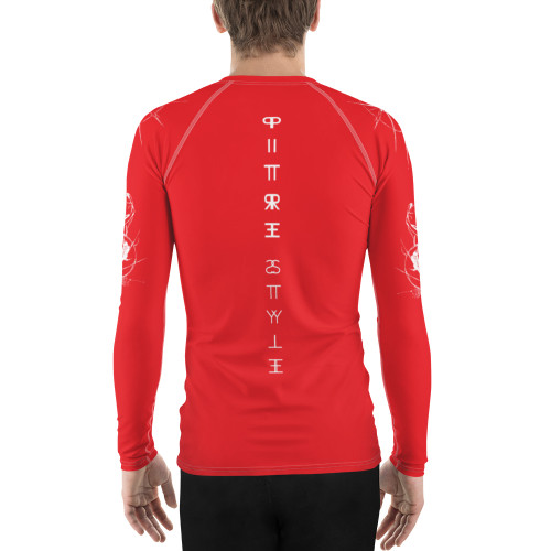 "Tierra del Fuego CODE Pitre Style Fine Fashion & Fantasy Art Red Men's Rash Guard. John Pitre presents ""Tierra del Fuego CODE"" in Marine red. Don't let sunburn, wind, sand, or other elements ruin your day! This smooth and versatile long-sleeve rash guard will protect you while you have fun doing sports. It is slim-fitted with flat ergonomic seams, and a bit longer than your casual tee for extra comfort and protection."