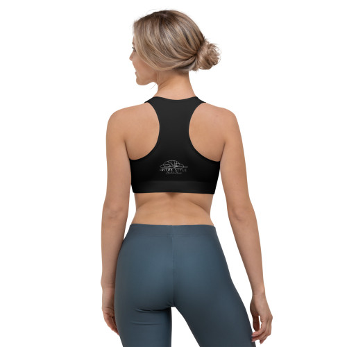 Mauna Kea Black Pitre Style Signature Fine Fashion & Fantasy Art Sports Bra by John Pitre. This gorgeous Mauna Kea Black Pitre Style sports bra is made from moisture-wicking material that stays dry during low and medium intensity workouts. The bra has support material in the shoulder straps, double layer front, and a wide elastic band to ensure constant support.