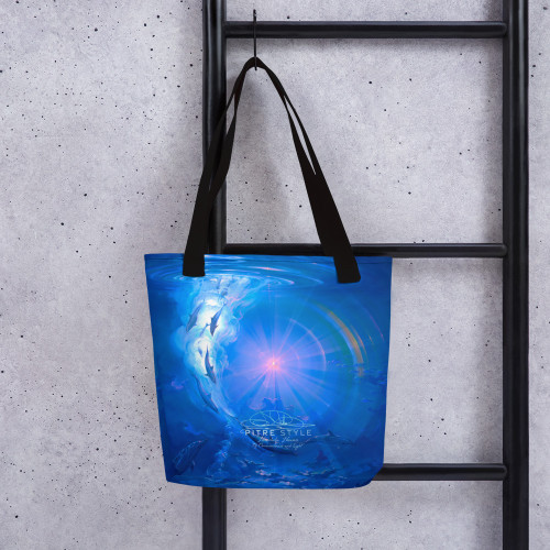 "John Pitre's ""Of Consciousness and Light,"" an oil on canvas, is a tribute to the mind and spirit of the dolphin. The light source in the center of the rainbow represents consciousness as it enters their souls bestowing upon them, intelligence and self-awareness. Looking toward this light, they feel the magic of the universe, as we do. This fine art bag, designed in part by Casidy Rae, is spacious and trendy tote bag to help you carry around everything that matters.  • 100% spun polyester fabric • Bag size: 15″ × 15″ (38.1 × 38.1 cm) • Capacity: 2.6 US gal (10 l) • Maximum weight limit: 44lbs (20 kg) • Dual handles made from 100% natural cotton bull denim • Handle length 11.8″ (30 cm), width 1″ (2.5 cm) • The handles can slightly differ depending on the fulfillment location"