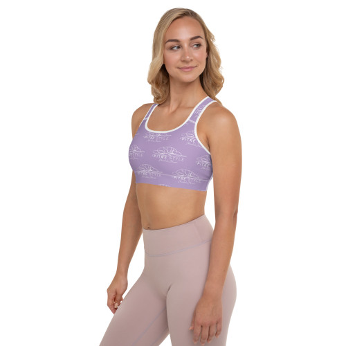 Designed in part by Casidy Rae, this soft lavender purple sports bra matches perfectly with Pitre's signature series of active wear. This comfy bra has a soft moisture-wicking fabric, extra materials in shoulder straps, and removable padding for maximum support.  • 82% polyester, 18% spandex  • Fabric weight: 6.61 oz/yd² (224 g/m²)  • Sports mesh lining: 92% polyester, 8% spandex  • Padding: 100% polyurethane perforated foam and 100% polyester moisture-wicking fabric  • Four-way stretch material  • Scoop neckline and racerback  • Support material in shoulder straps, and a wide elastic under breasts  • Best for A–C cups  • Removable padding included  • Mesh lining with slits for removing paddings  • Flat seams and bias binding that eliminate rubbing