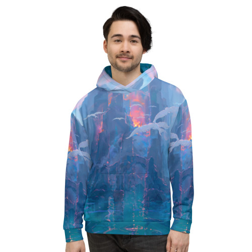 """""""Creation of Paradise"""" is one of the coolest hoodies you'll ever wear. John Pitre's """"Creation of Paradise"""" represents the beginning of the Hawaiian islands, born out of Pele's heartbeat, drawing in life from both the endless sky and ocean. This stunning representation of nature's ability to create life as well as provide it the energy and conditions to thrive, shows just how magical and diverse the power of the Hawaiian Islands are. Don't be afraid to show off this masterpiece of artwork and be your most active self in this very comfortable and premium hoodie sweatshirt! Remember, it's super smooth, super comfortable, and made from a perfect blend of polyester, cotton and elastane that won't fade after washing. Look fabulous wearing a masterpiece of artwork, sport the """"Creation of Paradise"""" hoodie. This comfy hoodie has a soft outside and an even softer brushed fleece inside. The hoodie has a relaxed fit, and it's perfect for wrapping yourself into on a chilly evening.  • 70% polyester, 27% cotton, 3% elastane  • Fabric weight: 8.85 oz/yd² (300 g/m²)  • Soft cotton-feel fabric face • Brushed fleece fabric inside  • Double-lined hood with design on both sides  • For both men, women, boys and girls  • Comes with drawstrings  • Overlock seams"""