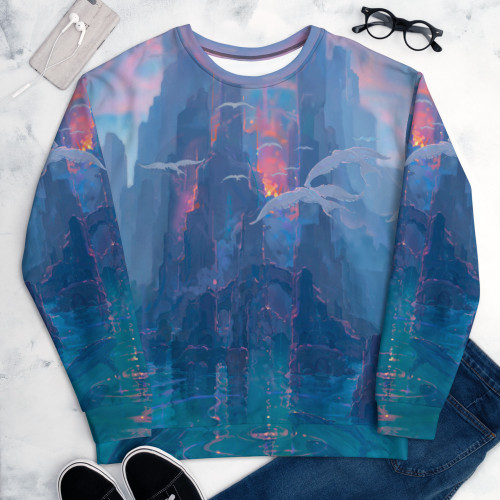 """Creation of Paradise"" is one of the coolest sweatshirts you'll ever wear. John Pitre's ""Creation of Paradise"" represents the beginning of the Hawaiian islands, born out of Pele's heartbeat, drawing in life from both the endless sky and ocean. This stunning representation of nature's ability to create life as well as provide it the energy and conditions to thrive, shows just how magical and diverse the power of the Hawaiian Islands are. Don't be afraid to show off this masterpiece of artwork and be your most active self in this very comfortable and premium sweatshirt! Remember, it's super smooth, super comfortable, and made from a perfect blend of polyester, cotton and elastane that won't fade after washing. Look fabulous wearing a masterpiece of artwork, sport the ""Creation of Paradise"". This comfortable sweatshirt has a soft outside and an even softer brushed fleece inside. The sweatshirt has a relaxed fit, and it's perfect for wrapping yourself into on a chilly evening."