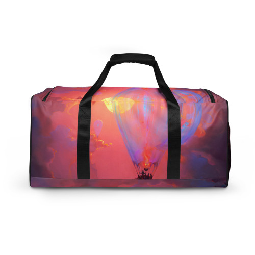 """Introducing """"Drifters"""" designed in part by Casidy Rae, and the Pitre Style team. The original """"Drifters"""" was created by John Pitre using oil on canvas. It is a fantastical interpretation of the beginnings of flight, exploration, and adventure into the unknown. This duffle bag is the perfect companion for every occasion—take it with you when traveling, running daily errands, or going to the gym. The bag is spacious and will keep all your stuff neat and organized with its multiple pockets, including one with a zipper for your most valuable possessions. Adjust the padded shoulder strap when the bag's helping you carry heavier things, and continue your daily run without a worry! This duffle bag is the perfect companion for every occasion—take it with you when traveling, running daily errands, or going to the gym. The bag is spacious and will keep all your stuff neat and organized with its multiple pockets, including one with a zipper for your most valuable possessions. Adjust the padded shoulder strap when the bag's helping you carry heavier things, and continue your daily run without a worry!"""