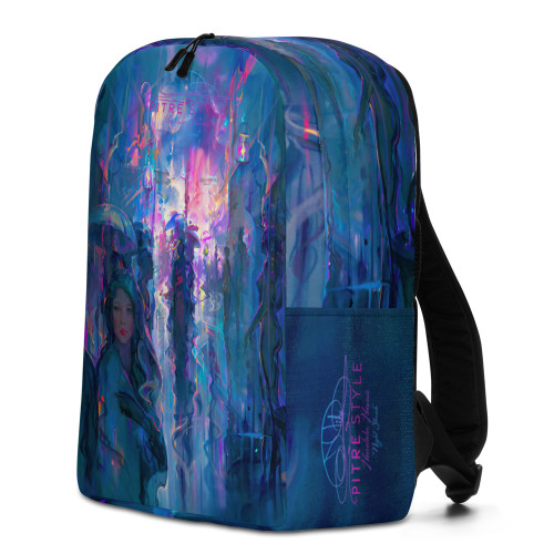 """Introducing the """"Night Street"""" Pitre Style backpack designed by Master of Fine Art, John Pitre. A timeless design that will turn heads and get people asking where you got it. This rugged yet stunning backpack is hand-made of water-resistant 100% polyester with an internal pocket for your laptop. This backpack is not only for designed for men, women and children, it can carry up to 44 pounds of books, gear or everyday stuff. With over 5 gallons of storage space inside, this is your go-to bag for school, work, gym or travel."""