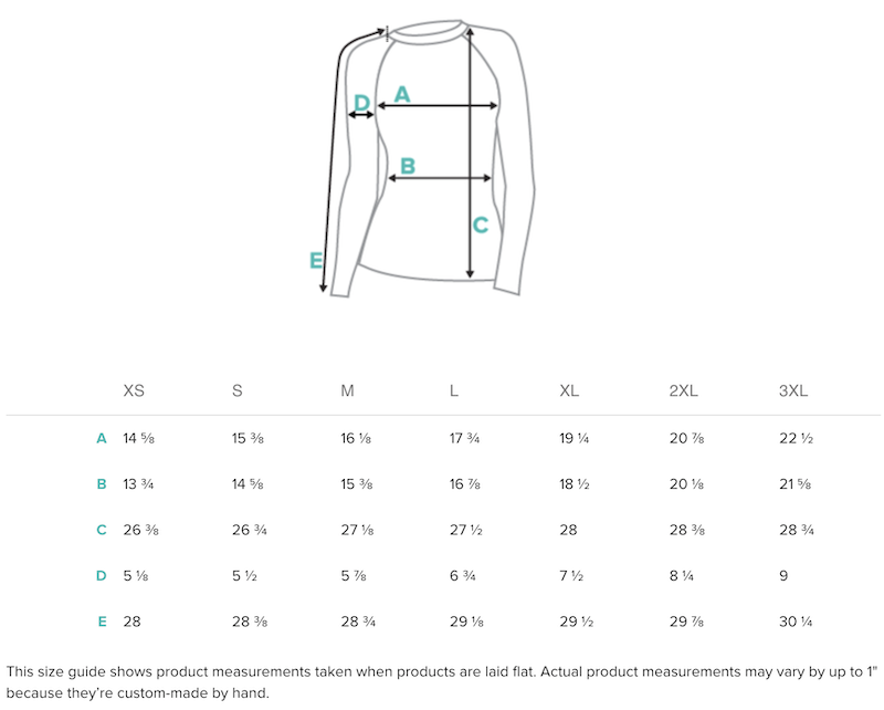 (INCHES) Women's Rash Guard Sizing Guide