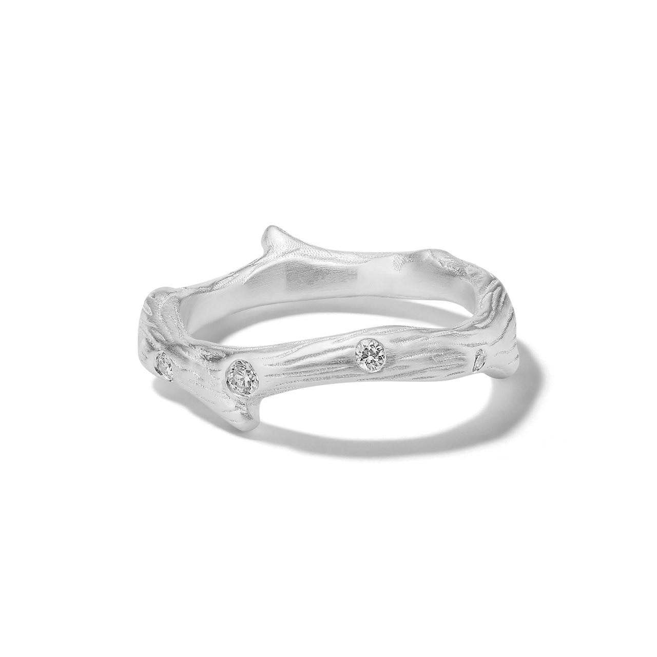 Ippolita Matte Branch Ring In Sterling Silver With Diamonds