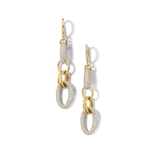 Link Drop Earrings in 18K Gold with Diamonds GE2245DIA