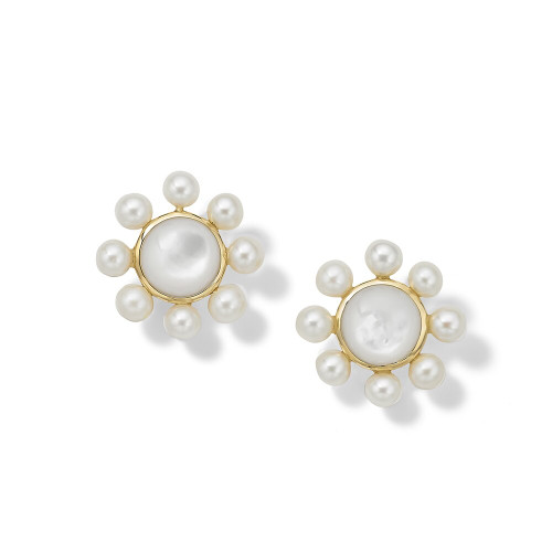 Round Clip Earrings with Satellite Beads in 18K Gold GE2249MOPCPRLCL