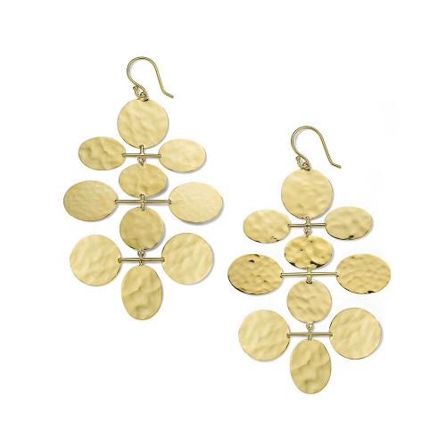 Crinkle Hammered Mobile Cascade Earrings in 18K Gold GE2261