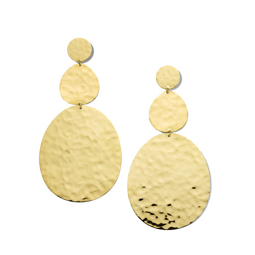 Large Crinkle Hammered Snowman Earrings in 18K Gold GE2262