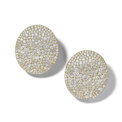 Large Oval Dome Earrings in 18K Gold with Diamonds GE2273DIA