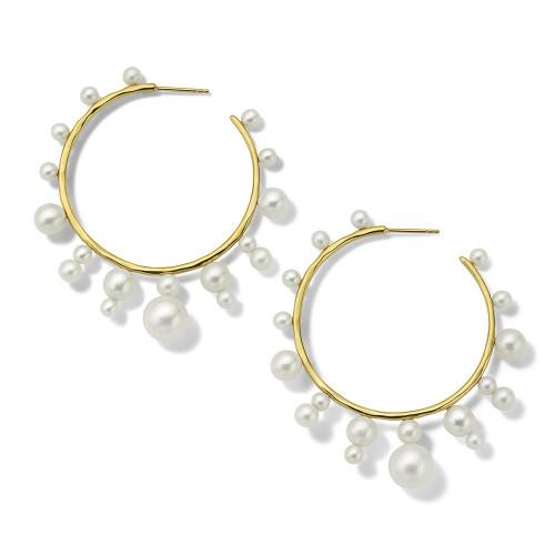 Radiating Hoop Earrings in 18K Gold GE2284PRL