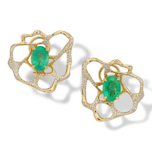 Emerald Drizzle Flower Earring in 18k Gold GE2315EMDIA