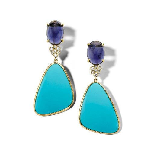 2-Stone Drop Earrings in 18K Gold GE2338IOLTQDIA