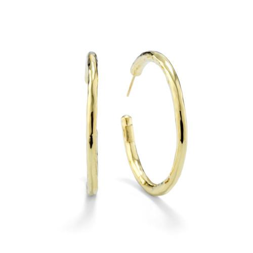 Medium Hammered Hoop Earrings in 18K Gold GE268