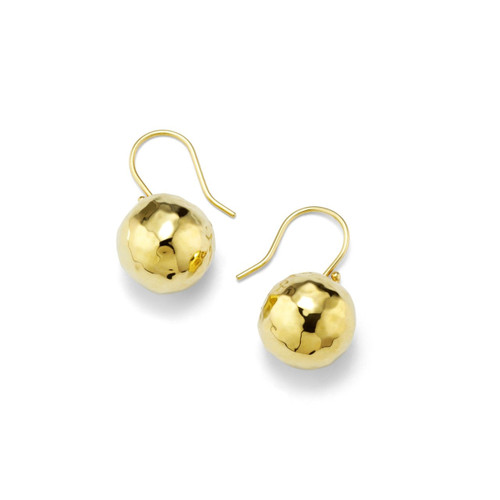Small Hammered Ball Drop Earrings in 18K Gold GE278