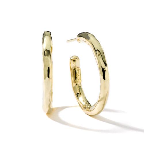 Small Hammered Hoop Earrings in 18K Gold GE282