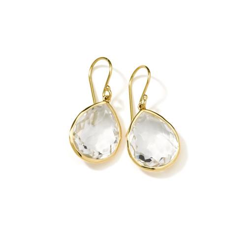 Small Single Stone Teardrop Earrings in 18K Gold GE350CQ
