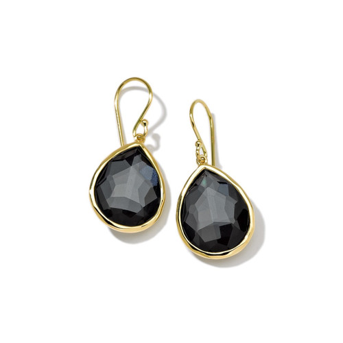 Small Single Stone Teardrop Earrings in 18K Gold GE350DFHEM
