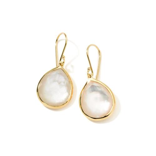 Small Single Stone Teardrop Earrings in 18K Gold GE350DFMOP