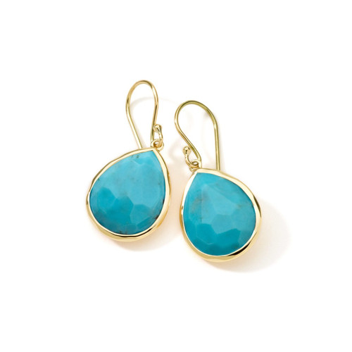 Small Single Stone Teardrop Earrings in 18K Gold GE350TQ