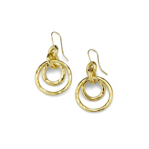 Puffy Hammered Jet Set Earrings in 18K Gold GE384