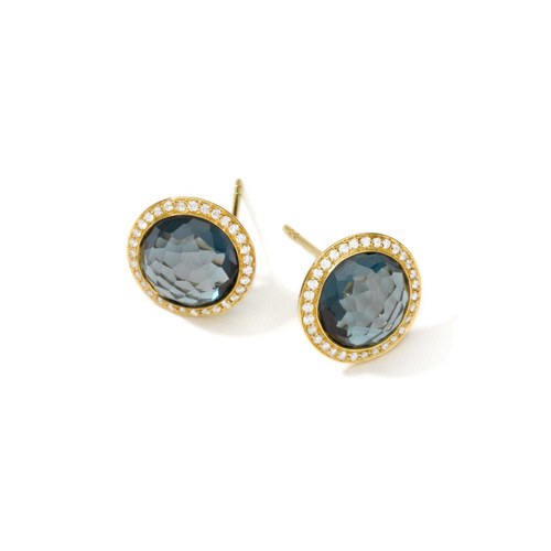 Stud Earrings in 18K Gold with Diamonds GE385LBTDIA