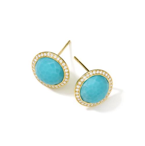 Stud Earrings in 18K Gold with Diamonds GE385TQDIA