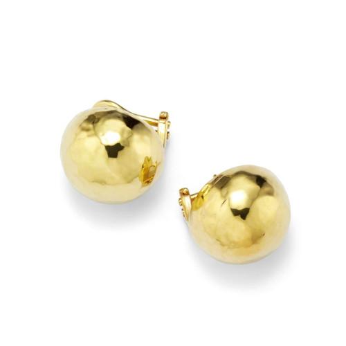 Medium Hammered Pinball Clip Stud Earrings in 18K Gold GE393