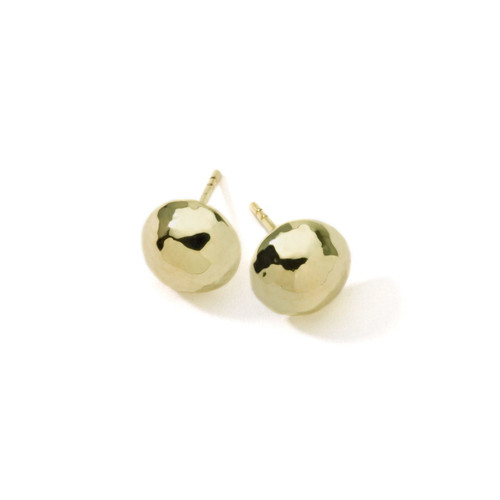 Small Hammered Pinball Stud Earrings in 18K Gold GE394