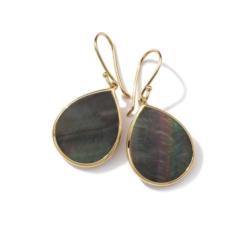 Small Stone Teardrop Earrings in 18K Gold GE615BKLSL