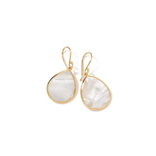 Small Stone Teardrop Earrings in 18K Gold GE615MOPSL