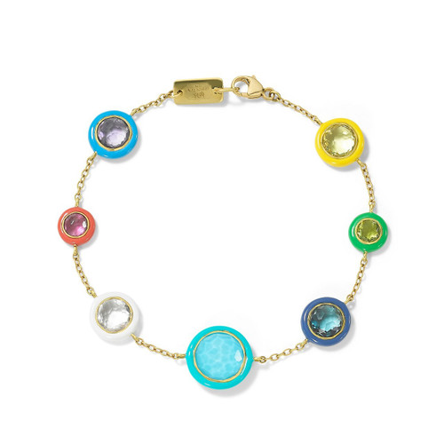 7-Stone Chain Bracelet in 18K Gold GB1089RAINBOW-PA