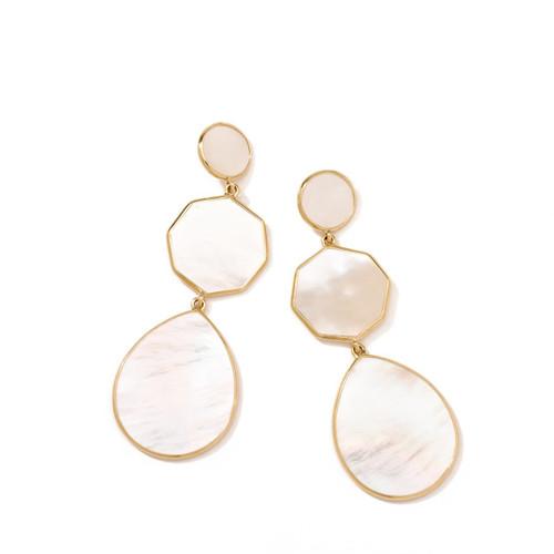 Crazy 8's 3-Stone Drop Earrings in 18K Gold GE616MOPSL
