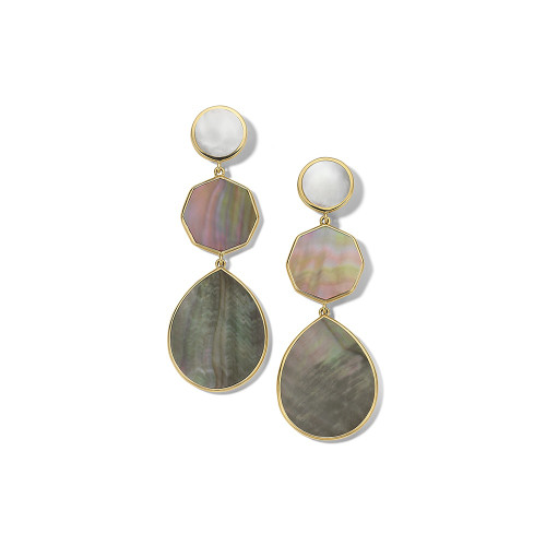 Crazy 8's 3-Stone Drop Earrings in 18K Gold GE616SABBIA