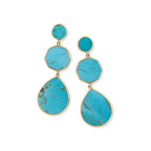 Crazy 8's 3-Stone Drop Earrings in 18K Gold GE616TQSL