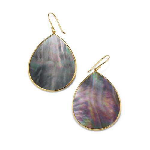 Jumbo Stone Teardrop Earrings in 18K Gold GE620BKLSL