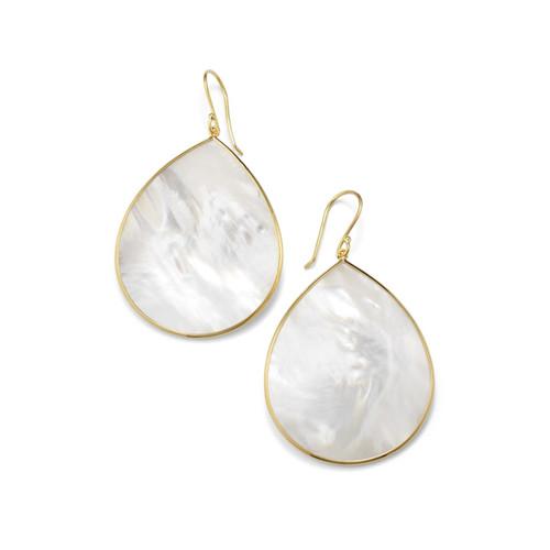 Jumbo Stone Teardrop Earrings in 18K Gold GE620MOPSL