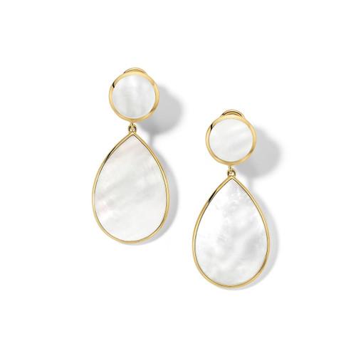 Snowman 2-Stone Drop Earrings in 18K Gold GE632MOPCLIP