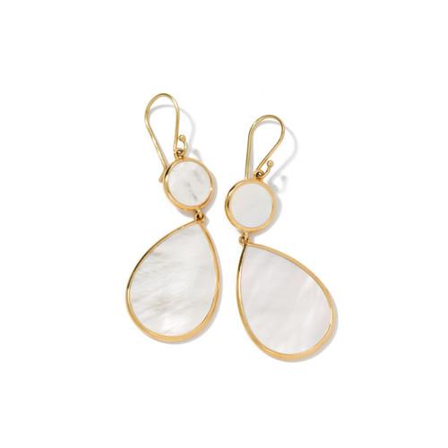 Snowman 2-Stone Drop Earrings in 18K Gold GE632MOPSL