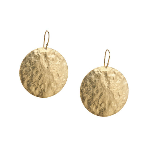 Large Crinkle Disc Drop Earrings in 18K Gold GE765