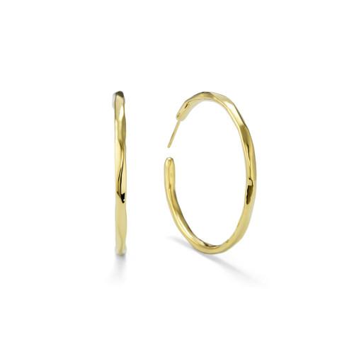 Large Faceted Hoop Earrings in 18K Gold GE821