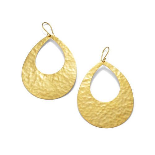 Large Crinkle Teardrop Earrings in 18K Gold GE845
