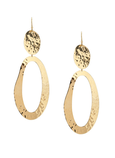 Crinkle Hammered Open Oval Earrings in 18K Gold GE853