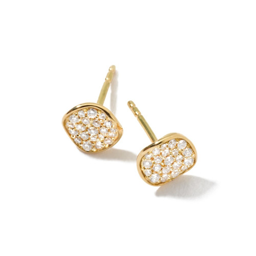 Mini Flower Stud Earrings in 18K Gold with Diamonds GE917DIA