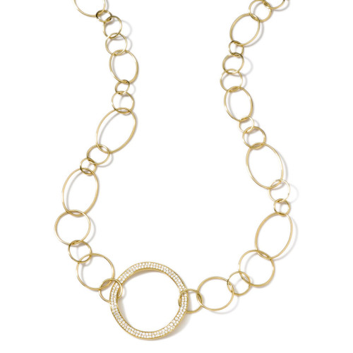 Wavy Circle Chain Necklace in 18K Gold with Diamonds GN019DIA-A