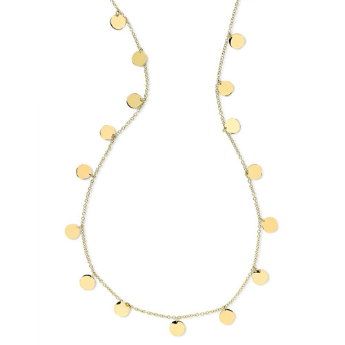 Long Paillette Layering Necklace in 18K Gold GN059X40
