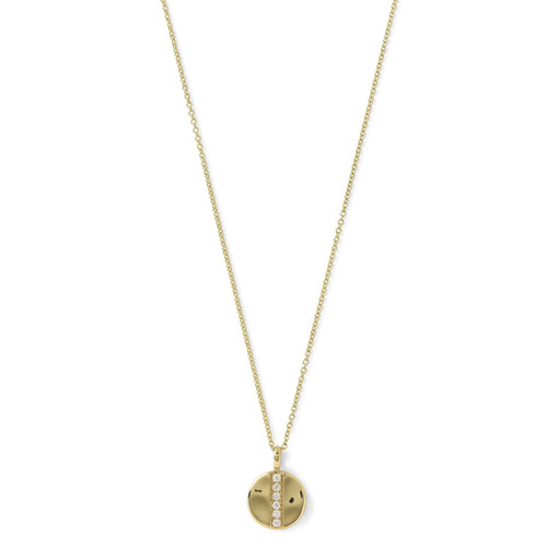 Mini Disc Pendant Necklace in 18K Gold with Diamonds GN1000DIA