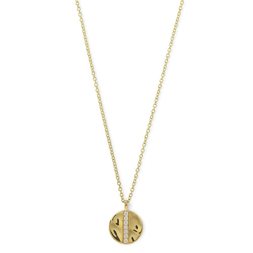 Disc Pendant Necklace in 18K Gold with Diamonds GN1001DIA